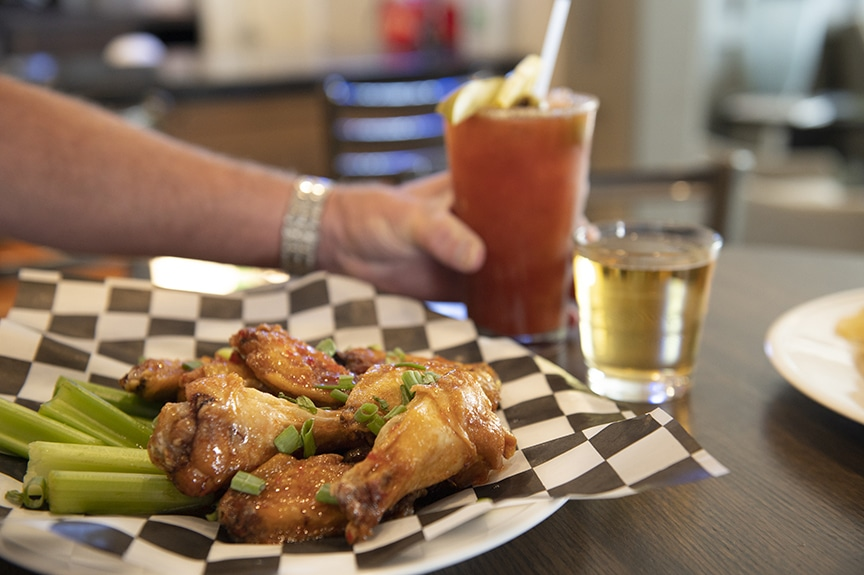 Wings and bloody mary